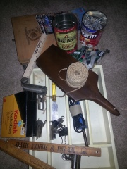 "An ""eye spy"" sample: cans of bolts and hinges, vintage rulers, twine, motherboards, soldering iron, cigar box, old school binder clips, a surplus zipper, etc..."